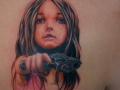 тату девочка с пистолетом